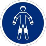 Schutzausrüstung für Rollsport benutzen, selbstklebend, Kunststofffolie selbstklebend, Gebotszeichen, ISO 7010, Ø 200 mm,