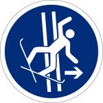 Bei Sturz Schleppspur sofort verlassen, selbstklebend, Kunststofffolie selbstklebend, Gebotszeichen, ISO 7010, Ø 100 mm,