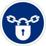 Verschlossen halten, selbstklebend, DIN A4 Bogen mit 88 Stk., Kunststofffolie selbstklebend, Gebostzeichen ISO 7010, Ø 25mm