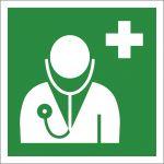 Arzt, mit doppelseitigem Klebeband rückseitig beklebt, Aluminium selbstklebend, EverGlow HI® 150, Rettungszeichen, ISO 7010, 200 x 200 mm, 150mcd/m2