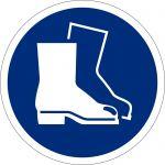Fussschutz benutzen, selbstklebend, Kunststofffolie selbstklebend, Gebotszeichen ISO 7010, Ø 200mm