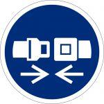 Rückhaltesystem benutzen, selbstklebend, DIN A4 Bogen mit 20 Stk., Kunststofffolie selbstklebend, Gebotszeichen ISO 7010, Ø 50mm