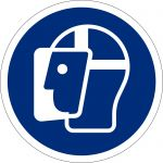 Gesichtsschutz benutzen, selbstklebend, DIN A4 Bogen mit 20 Stk., Kunststofffolie selbstklebend, Gebotszeichen ISO 7010, Ø 50mm