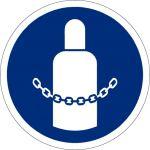 Gasflaschen sichern, selbstklebend, Kunststofffolie selbstklebend, Gebotszeichen, ISO 7010, Ø 200 mm,