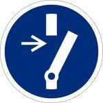 Vor Wartung oder Reparatur freischalten, selbstklebend, DIN A4 Bogen mit 40 Stk., Kunststofffolie selbstklebend, Gebotszeichen ISO 7010, Ø 35mm