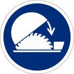 Schutzhaube der Tischkreissäge benutzen, selbstklebend, DIN A4 Bogen mit 40 Stk., Kunststofffolie selbstklebend, Gebotszeichen ISO 7010, Ø 35mm