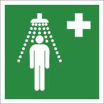 Notdusche, selbstklebend, Kunststofffolie selbstklebend, EverGlow HI® 150, Rettungszeichen, ISO 7010, 150 x 150 mm, 150mcd/m2
