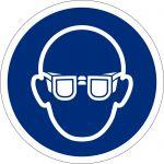 Augenschutz benutzen, selbstklebend, DIN A4 Bogen mit 88 Stk., Kunststofffolie selbstklebend, Gebostzeichen ISO 7010, Ø 25mm