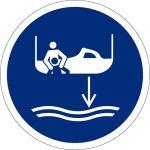 Bereitschaftsboot fieren beim Aussetzvorgang, selbstklebend, Kunststofffolie selbstklebend, Gebotszeichen, ISO 7010, Ø 200 mm,