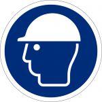 Kopfschutz benutzen, selbstklebend, DIN A4 Bogen mit 88 Stk., Kunststofffolie selbstklebend, Gebostzeichen ISO 7010, Ø 25mm