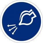 Luftversorgung einschalten beim Aussetzvorgang, selbstklebend, Kunststofffolie selbstklebend, Gebotszeichen, ISO 7010, Ø 100 mm,