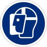 Gesichtsschutz benutzen, selbstklebend, DIN A4 Bogen mit 40 Stk., Kunststofffolie selbstklebend, Gebotszeichen ISO 7010, Ø 35mm