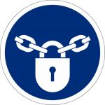 Verschlossen halten, selbstklebend, DIN A4 Bogen mit 20 Stk., Kunststofffolie selbstklebend, Gebotszeichen ISO 7010, Ø 50mm