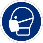 Maske benutzen, selbstklebend, DIN A4 Bogen mit 88 Stk., Kunststofffolie selbstklebend, Gebostzeichen ISO 7010, Ø 25mm
