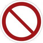 Allgemeines Verbotszeichen, selbstklebend, DIN A4 Bogen mit 40 Stk., Kunststofffolie selbstklebend, Verbotszeichen ISO 7010, Ø 35mm