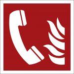 Brandmeldetelefon, mit doppelseitigem Klebeband, Aluminium selbstklebend, EverGlow HI® 150, Brandschutzzeichen ISO 7010, 150 x 150mm, 150mcd/m2