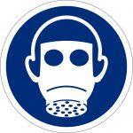 Atemschutz benutzen, selbstklebend, DIN A4 Bogen mit 88 Stk., Kunststofffolie selbstklebend, Gebostzeichen ISO 7010, Ø 25mm