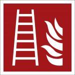 Feuerleiter, mit doppelseitigem Klebeband, Aluminium selbstklebend, EverGlow HI® 150, Brandschutzzeichen ISO 7010, 200 x 200mm, 150mcd/m2