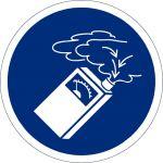 Gasdetektor benutzen, selbstklebend, Kunststofffolie selbstklebend, Gebotszeichen, ISO 7010, Ø 100 mm,