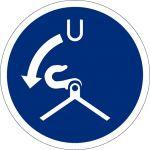 Fallen lösen beim Aussetzvorgang, Kunststoff, Gebotszeichen, ISO 7010, 200 x 200 mm
