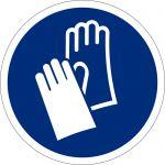 Handschutz benutzen, selbstklebend, DIN A4 Bogen mit 40 Stk., Kunststofffolie selbstklebend, Gebotszeichen ISO 7010, Ø 35mm