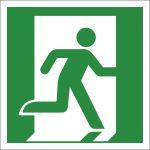 Notausgang (rechts), selbstklebend, Kunststofffolie selbstklebend, EverGlow HI® 150, Rettungszeichen, ISO 7010, 150 x 150 mm, 150mcd/m2