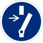 Vor Wartung oder Reparatur freischalten, selbstklebend, DIN A4 Bogen mit 88 Stk., Kunststofffolie selbstklebend, Gebostzeichen ISO 7010, Ø 25mm
