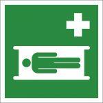 Krankentrage, mit doppelseitigem Klebeband rückseitig beklebt, Aluminium selbstklebend, EverGlow HI® 150, Rettungszeichen, ISO 7010, 150 x 150 mm, 150mcd/m2