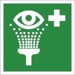 Augenspüleinrichtung, mit doppelseitigem Klebeband rückseitig beklebt, Aluminium, EverGlow HI® 150, Rettungszeichen, ISO 7010, 150 x 150 mm, 150mcd/m2
