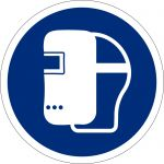Schweissmaske benutzen, selbstklebend, DIN A4 Bogen mit 20 Stk., Kunststofffolie selbstklebend, Gebotszeichen ISO 7010, Ø 50mm