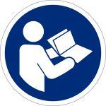 Anleitung beachten, selbstklebend, DIN A4 Bogen mit 40 Stk., Kunststofffolie selbstklebend, Gebotszeichen ISO 7010, Ø 35mm