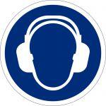 Gehörschutz benutzen, selbstklebend, DIN A4 Bogen mit 20 Stk., Kunststofffolie selbstklebend, Gebotszeichen ISO 7010, Ø 50mm