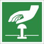 Not-Halt-Knopf, selbstklebend, Kunststofffolie selbstklebend, EverGlow HI® 150, Rettungszeichen, ISO 7010, 200 x 200 mm,, 150mcd/m2