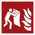 Feuerlöschdecke, Kunststofffolie selbstklebend, EverGlow HI® 150, Brandschutzzeichen ISO 7010, 200 x 200 mm, 150mcd/m2