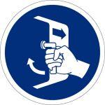 Öffnungen schliessen und sichern beim Aussetzvorgang, selbstklebend, Kunststofffolie selbstklebend, Gebotszeichen, ISO 7010, Ø 200 mm,