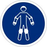 Schutzausrüstung für Rollsport benutzen, selbstklebend, Kunststofffolie selbstklebend, Gebotszeichen, ISO 7010, Ø 100 mm,