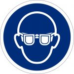 Augenschutz benutzen, selbstklebend, DIN A4 Bogen mit 20 Stk., Kunststofffolie selbstklebend, Gebotszeichen ISO 7010, Ø 50mm
