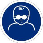Kleinkinder durch weitgehend lichtundurchlässige Augenabschirmung schützen, selbstklebend, DIN A4 Bogen mit 20 Stk., Kunststofffolie selbstklebend, Gebotszeichen ISO 7010, Ø 50mm