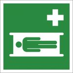 Krankentrage, mit doppelseitigem Klebeband rückseitig beklebt, Aluminium selbstklebend, EverGlow HI® 150, Rettungszeichen, ISO 7010, 200 x 200 mm, 150mcd/m2