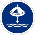 Rettungsfloss fieren beim Aussetzvorgang, Kunststoff, Gebotszeichen, ISO 7010, 200 x 200 mm