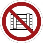 Abstellen oder Lagern verboten, selbstklebend, Kunststofffolie selbstklebend, Verbotszeichen ISO 7010, Ø 200mm