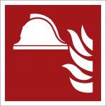 Mittel und Geräte zur Brandbekämpfung, mit doppelseitigem Klebeband, Aluminium selbstklebend, EverGlow HI® 150, Brandschutzzeichen ISO 7010, 200 x 200mm, 150mcd/m2