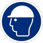 Kopfschutz benutzen, selbstklebend, DIN A4 Bogen mit 20 Stk., Kunststofffolie selbstklebend, Gebotszeichen ISO 7010, Ø 50mm