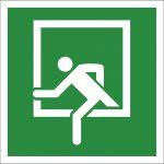 Notausstieg, selbstklebend, Kunststofffolie selbstklebend, EverGlow HI® 150, Rettungszeichen, ISO 7010, 150 x 150 mm, 150mcd/m2