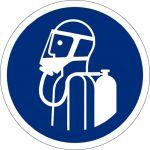 Umgebungsluftunabhängigen Atemschutz benutzen, selbstklebend, Kunststofffolie selbstklebend, Gebotszeichen, ISO 7010, Ø 200 mm,