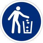 Abfallbehälter benutzen, selbstklebend, DIN A4 Bogen mit 40 Stk., Kunststofffolie selbstklebend, Gebotszeichen ISO 7010, Ø 35mm