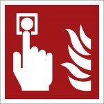 Brandmelder, mit doppelseitigem Klebeband, Aluminium selbstklebend, EverGlow HI® 150, Brandschutzzeichen ISO 7010, 200 x 200mm, 150mcd/m2