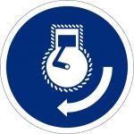 Motor starten beim Aussetzvorgang, selbstklebend, Kunststofffolie selbstklebend, Gebotszeichen, ISO 7010, Ø 100 mm,