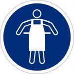 Schutzschürze benutzen, selbstklebend, DIN A4 Bogen mit 20 Stk., Kunststofffolie selbstklebend, Gebotszeichen ISO 7010, Ø 50mm