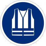 Warnweste benutzen, selbstklebend, DIN A4 Bogen mit 20 Stk., Kunststofffolie selbstklebend, Gebotszeichen ISO 7010, Ø 50mm